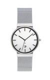 Relógio de pulso de prata isolado no branco Fotos de Stock Royalty Free
