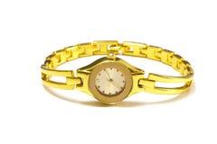 Relógio de pulso do ouro da mulher Fotos de Stock Royalty Free
