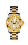 Relógio de pulso do ouro isolado no branco com trajeto de grampeamento Imagens de Stock