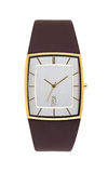 Relógio de pulso do ouro isolado no branco com trajeto de grampeamento Fotografia de Stock Royalty Free