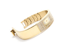 Relógio de pulso dourado da mulher foto de stock royalty free