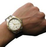 Relógio de pulso na mão isolada Imagens de Stock Royalty Free