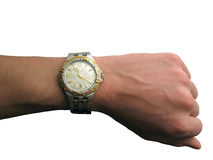 Relógio de pulso na mão isolada Fotografia de Stock Royalty Free