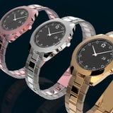 Relógio de Rosa, de prata e de ouro Fotos de Stock Royalty Free