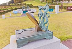 Relógio de sol equatorial Hyeonji-Ilgu no jardim da ciência em Busan, Kore Imagem de Stock Royalty Free