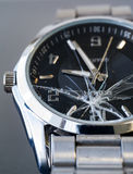 Relógio de vidro quebrado Fotos de Stock Royalty Free
