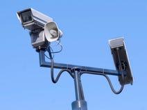 Relógio do crime: Observação da câmara de segurança fotos de stock royalty free