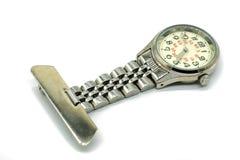 Relógio do fecho da prata das enfermeiras fotos de stock