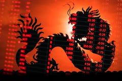 Relógio do gráfico do mercado de valores de ação de China Fotografia de Stock