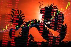 Relógio do gráfico do mercado de valores de ação de China Imagem de Stock
