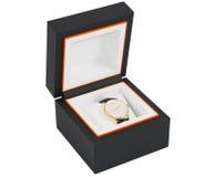 Relógio do vestido do ouro na caixa Fotografia de Stock Royalty Free