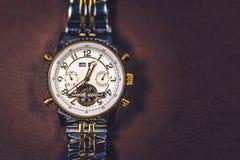 Relógio dourado Fotografia de Stock