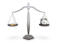 Relógio e moedas nas escalas 3d ilustração stock