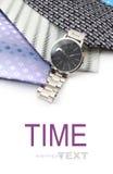 Relógio e variedade de gravatas coloridas Foto de Stock