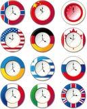 Relógio, em que as bandeiras Imagem de Stock