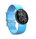 Relógio esperto azul isolado no fundo branco Fotografia de Stock