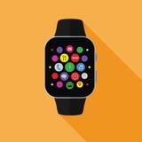 Relógio esperto com ícones do app, conceito liso com sombra longa Foto de Stock