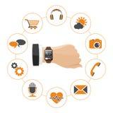 Relógio esperto com aplicações Foto de Stock Royalty Free