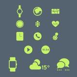 Relógio esperto com grupo do ícone do vetor do app Foto de Stock