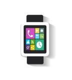 Relógio esperto com preto dos ícones dos apps Fotografia de Stock Royalty Free