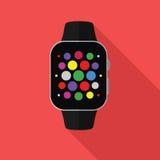 Relógio esperto, conceito liso com sombra longa Fotografia de Stock