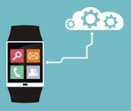 Relógio esperto conectado à nuvem Fotografia de Stock