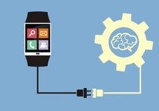Relógio esperto conectado ao cérebro Fotos de Stock