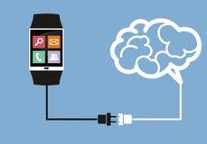 Relógio esperto conectado ao cérebro Fotografia de Stock