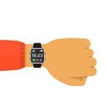 Relógio esperto na ilustração lisa do vetor do conceito da mão Fotografia de Stock Royalty Free