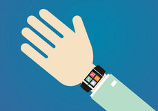 Relógio esperto na mão Imagens de Stock