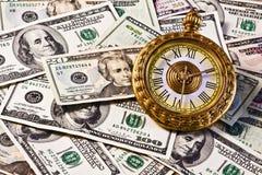 Relógio financeiro do dinheiro Imagens de Stock