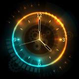 Relógio futurista de Digitas com efeitos de néon Conceito abstrato do vetor do tempo com pulso de disparo ilustração royalty free