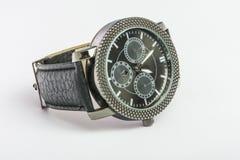 Relógio masculino preto de quartzo da mão Foto de Stock
