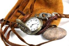 Relógio no saco de couro Imagens de Stock Royalty Free