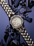 Relógio no vidro azul Imagem de Stock Royalty Free
