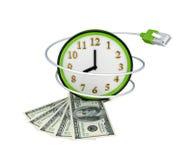 Relógio, patchcord e router vermelhos. Fotografia de Stock Royalty Free