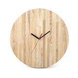 Relógio redondo de madeira da parede - pulso de disparo isolado no fundo branco Fotos de Stock