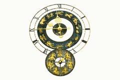 Relógio velho com sinais do zodíaco Imagem de Stock