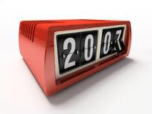 Relógio vermelho - contrário no ano novo do fundo branco Fotografia de Stock Royalty Free