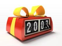 Relógio vermelho - contrário no presente branco do ano novo do fundo Fotografia de Stock