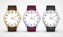 Relógios de pulso Grupo clássico do relógio do projeto Isolado no branco ilustração stock