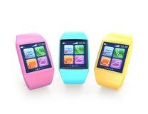 Relógios de Smart isolados no fundo branco. Trajeto de grampeamento incluído Foto de Stock Royalty Free
