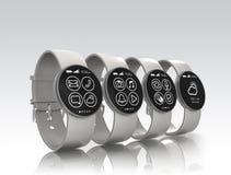 Relógios de Smart isolados no fundo cinzento Foto de Stock Royalty Free