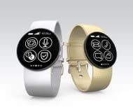 Relógios de Smart isolados no fundo cinzento Imagens de Stock Royalty Free