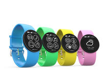 Relógios espertos coloridos isolados no fundo branco Imagens de Stock
