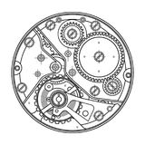 Relógios mecânicos com engrenagens Desenho do dispositivo interno Pode ser usado como exemplo da interação harmoniosa de Imagem de Stock