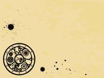 Relógios no estilo vitoriano no fundo de papel velho, mão tirada Vetor ilustração do vetor