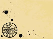 Relógios no estilo vitoriano no fundo de papel velho, mão tirada Vetor ilustração royalty free