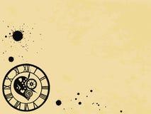 Relógios no estilo vitoriano no fundo de papel velho, mão tirada Vetor ilustração stock