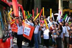 Relè della torcia dei Giochi Olimpici 2010 della gioventù Fotografie Stock Libere da Diritti